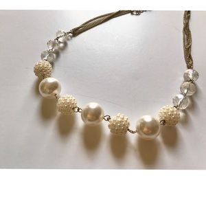 <VINTAGE> Chunky Pearl Crystal Bead Necklace